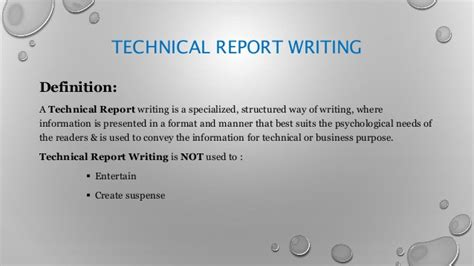 technical report writing importance of technical report writing