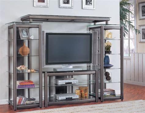 glass doors for entertainment wall open shelf gray metal glass finish 4