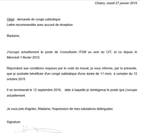 Lettre De Demande De Visa Apres Refus lettre de demande de cong 233 sabbatique