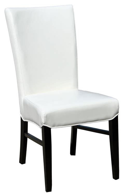 white leather dining room chair leather parson dining room kitchen chairs r 1045
