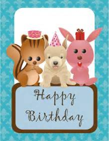 free birthday animals printable greeting card
