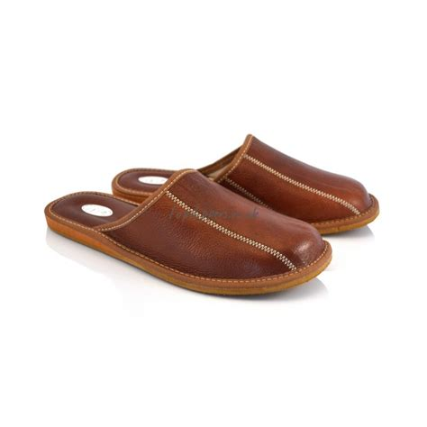 Buy Brown Leather House Slippers Mules For Men Model No 332j