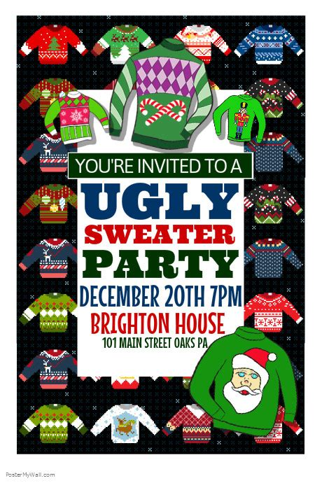 Ugly Sweater Party Template Postermywall Sweater Flyer Template Free