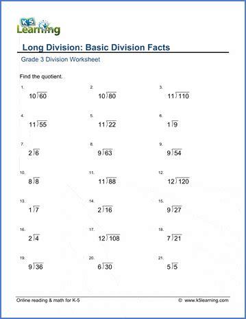 grade  math worksheet long division basic division
