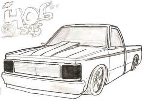 lifted chevy truck outline drawing 2