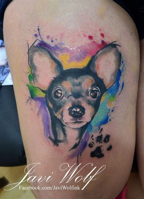 watercolor tattoo dog small s portrait with paw print with