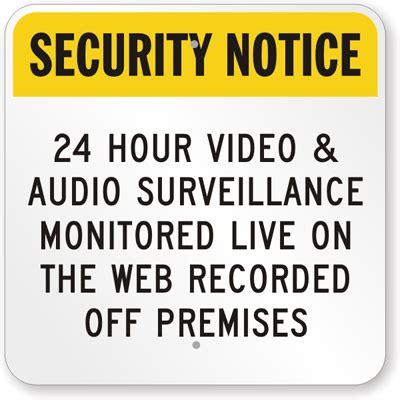 24 hour video & audio surveillance sign online, sku: k 7448