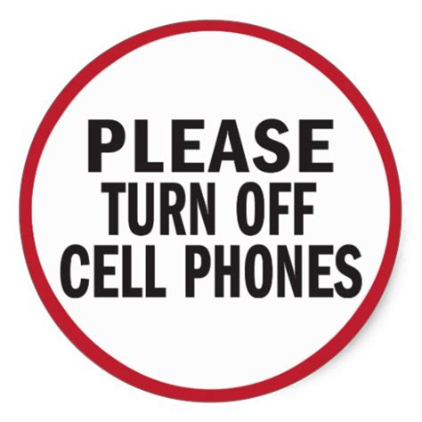 8 Places To Turn Your Cell Phone by Turn Cell Phones Sticker