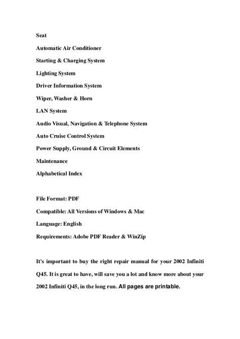 online service manuals 2000 infiniti q security system 2002 infiniti q45 service repair manual download