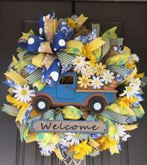 spring truck wreath truck wreath summer wreath spring