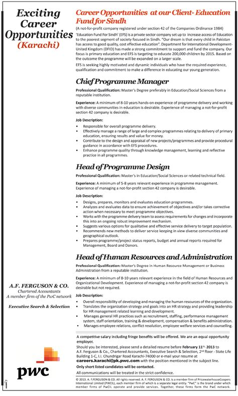 Pwc India Mba Internship by Education Fund For Sindh Efs 2013 For Executives