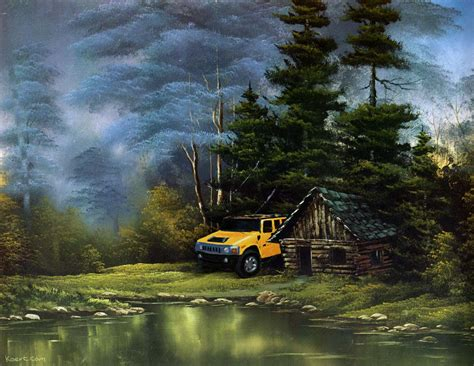 bob ross painting human in the wilderness 2008