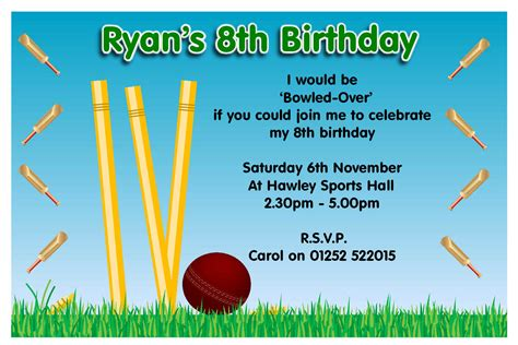 cricket birthday card template christening invitation templates invitation templates