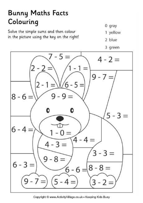 bunny maths facts colouring page math numbers