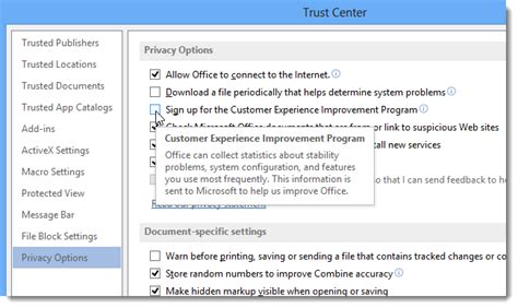 how to opt out of the microsoft office customer experience