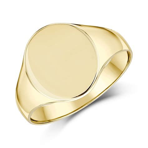 9ct yellow gold s oval shape light weight signet ring