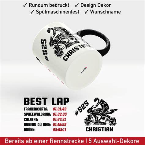 Aufkleber Motorrad Name by Motorrad Tasse Rennstrecke Mit Startnummer Rundenzeiten