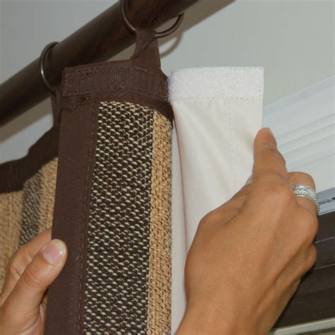 diy curtains with lining bamboo woven stripe ring top curtain velcro is used to