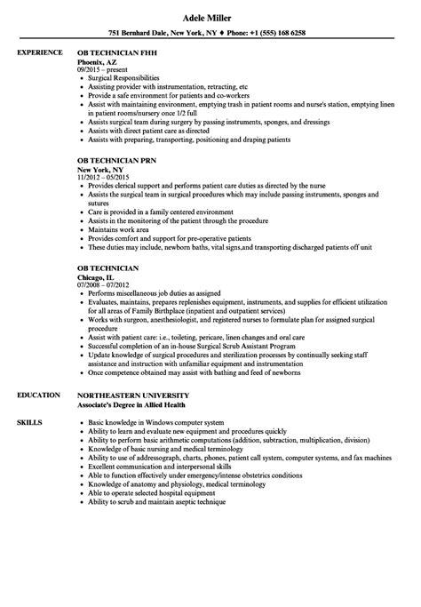 Ob Technician Sle Resume by Ob Technician Resume Sles Velvet