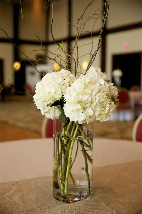 Simple Wedding Centerpieces by Hydrangeas Curly Willow Simple Wedding Centerpieces Our
