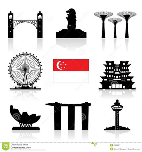 icon design singapore singapore travel icon stock vector image 57393921