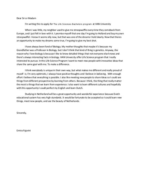 Motivation Letter Exle For Bachelor Motivation Letter