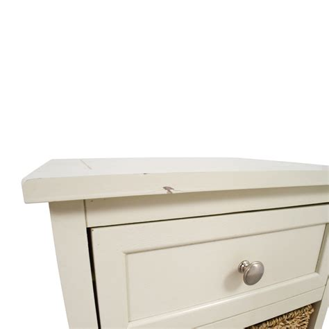 28 white storage unit with drawer and wicker