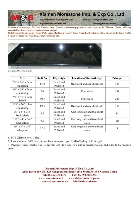 Average Thickness Of Granite Countertops by 3cm Thickness Prefab Countertop Blank Pricelist