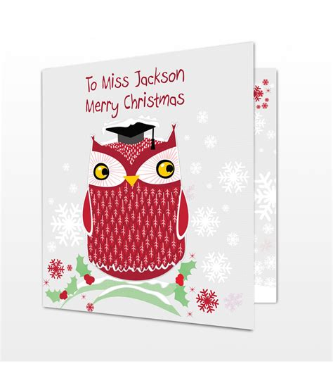 personalised christmas card owl just for gifts