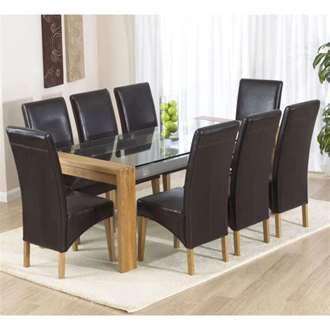 Rectangle Glass Top Dining Table Sets Arturo Rectangle Oak Glass Top Dining Table And 8 Roma