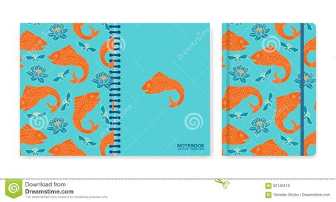 notebook cover design vector free download cover design for notebooks or scrapbooks with fishes and