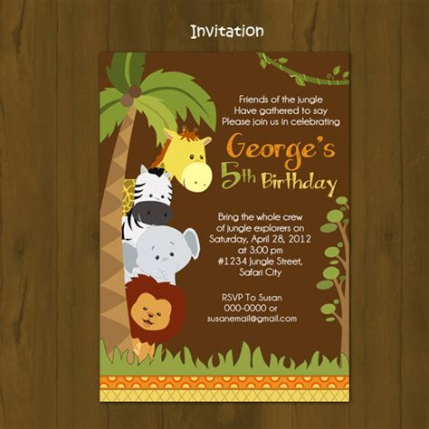 Zoo Birthday Invitations Template Best Template Collection Jungle Animal Invitation Templates