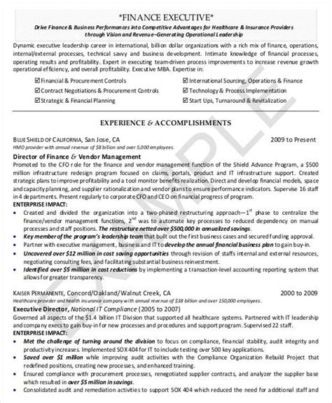 Director Of Finance Resume by 24 Free Finance Resume Templates Pdf Doc Free Premium Templates