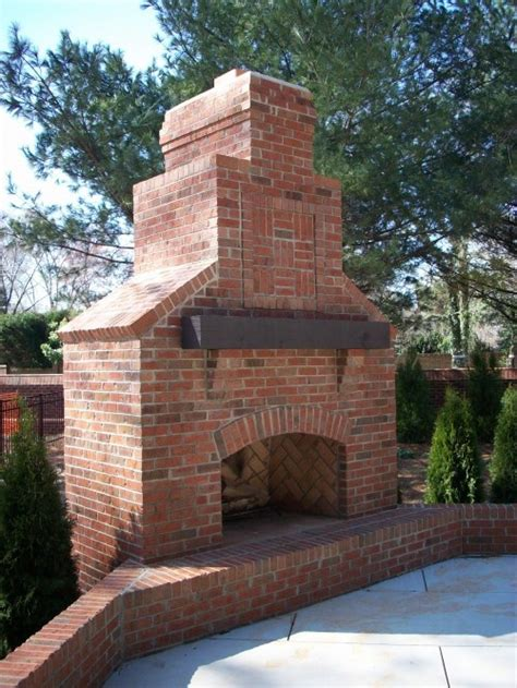Backyard Brick Fireplace by Brick Fireplace With Wood Mantel Outdoor Pits And