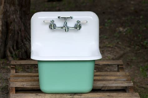farmhouse sink with high backsplash 1950 s refinished cast iron wall mount farmhouse utility