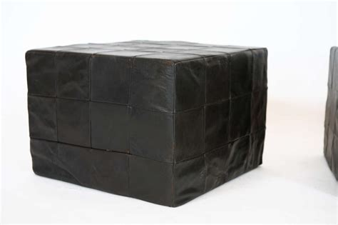 black cube ottoman black leather cube ottomans by stendig at 1stdibs