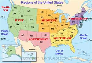 types map of united states regions ornamental plant