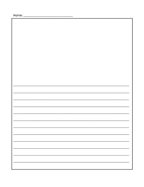 Lined Writing Paper With Drawing Box Best Photos Of Kindergarten Writing Journal Paper Writing Template