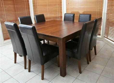 Square Dining Table 8 Chairs Solid Wooden Timber Square Table 8 Black Leather Chairs 9 Dining Package Ebay