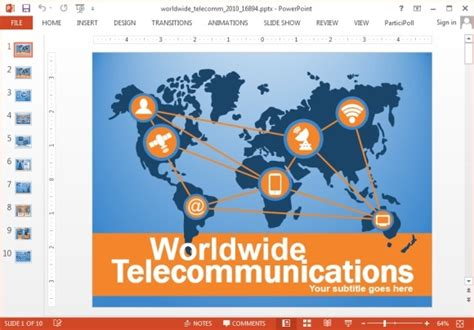 Animated Telecom Powerpoint Templates With Worldmap Telecommunication Presentation