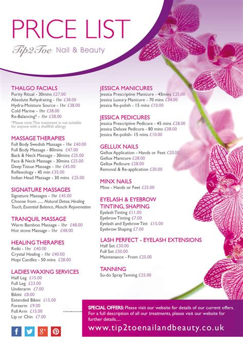 beauty price list 2 of 2 price lists menus tip2toe nail beauty