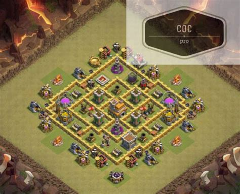 coc town hall 7 war bas coc strategy th7 war base farming attacking free tips