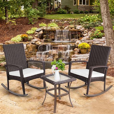 gymax  piece rattan wicker furniture set cushioned patio