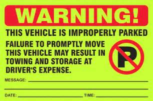 violation stickers to enforce parking rules