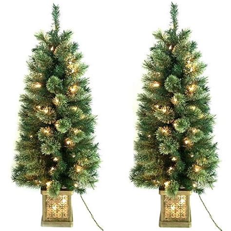 tree in lighted pot time pre lit 4 topiary trees in pots 2 pack clear lights madness