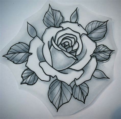 sketch rose tattoo flor pinteres