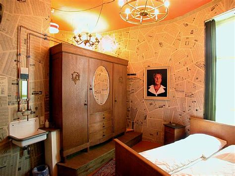 newspaper themed room grandma bedroom with newspaper wall decorations interior