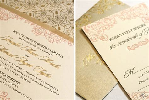 Blush And Gold Wedding Invitations