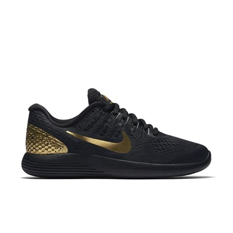 black and gold nike shoes nike lunarglide 8 le s running shoe in black lyst