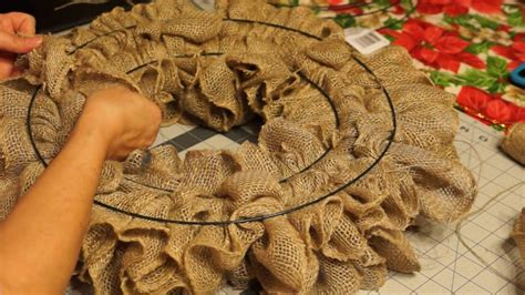 how to make a wreath with burlap ruffle burlap wreath pull through burlap wreath 2